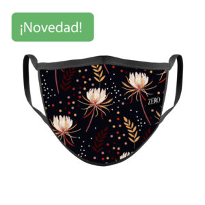 Mascarilla reutilizable tela Hojas Flores Lunares