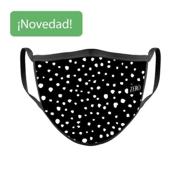 Mascarilla Reutilizable Negra Topos Blancos