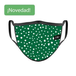 Mascarilla Reutilizable Verde Topos Blancos